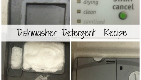 Dishwasher detergent collage with text